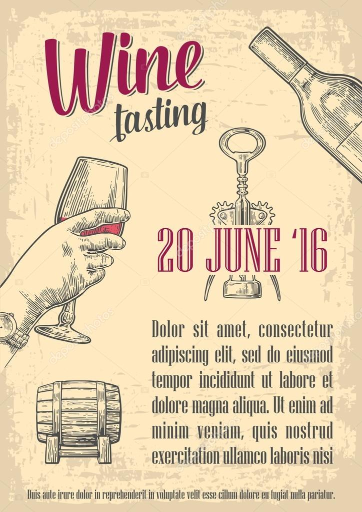 Wine Tasting Female Hand Holding A Glass Of Vintage Vector Engraving Illustration Drawn Sketch For Poster Invitation To Party Web Banner