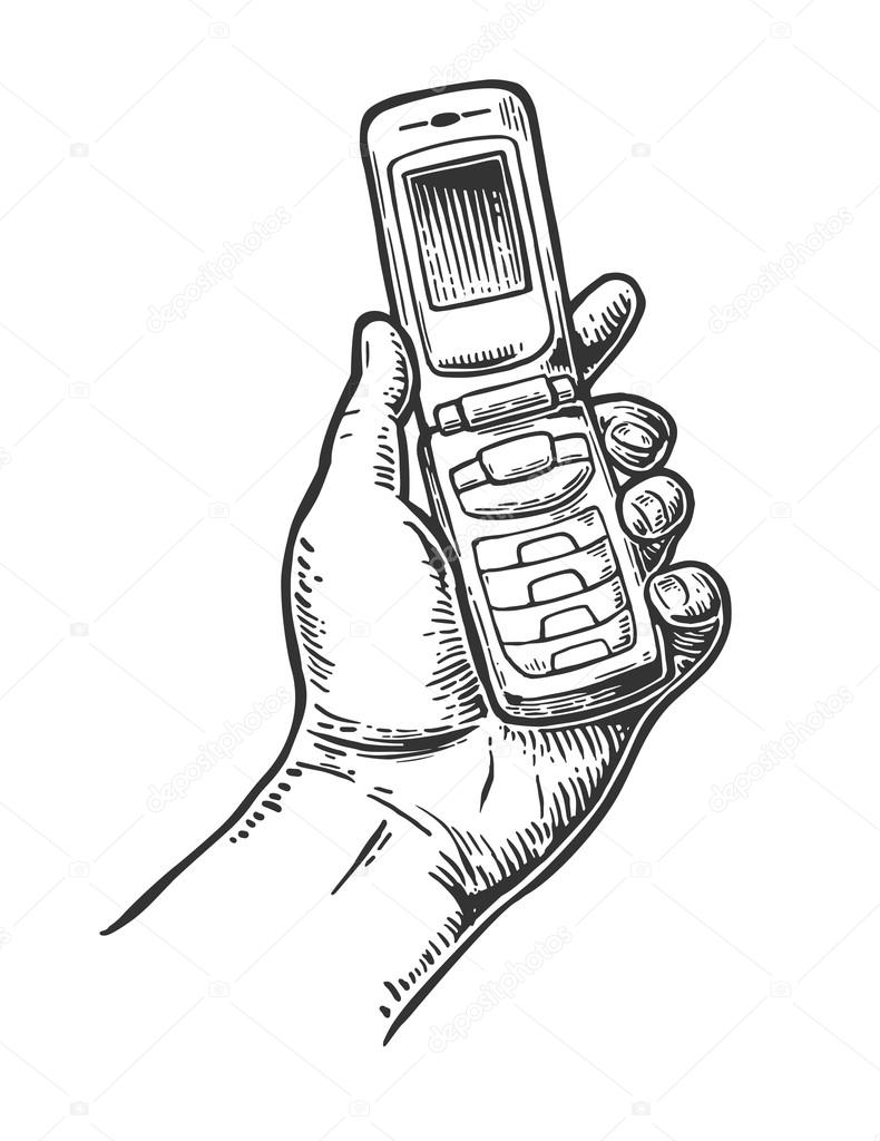 flip phone hold male hand vintage vector drawn engraving