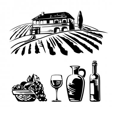 Rural landscape with villa, vineyard fields and hills. Basket with grapes, a bottle wine, a glass and a jug of wine. Black and white vintage vector illustration for wine label, poster, web, icon. stock vector