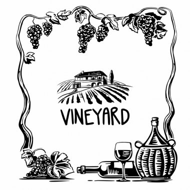 Rural landscape with villa and vineyard fields. Bunch of grapes, a bottle, a glass and a jug of wine. Black and white vintage vector square illustration for label, poster, web, icon stock vector