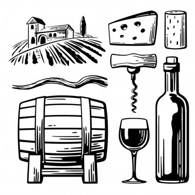 Rural landscape with villa, vineyard fields and hills. Bottle, glass, corkscrew, vine, cork, barrel, cheese. Black and white vintage vector illustration for label, poster, web, icon