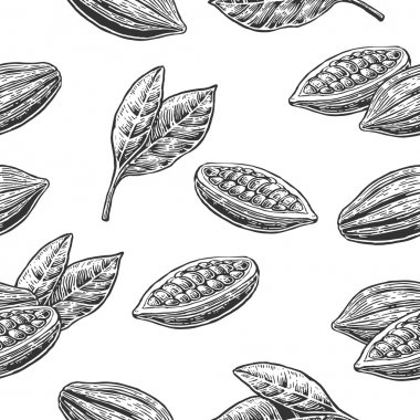 Seamless pattern with leaves and fruits of cocoa beans.