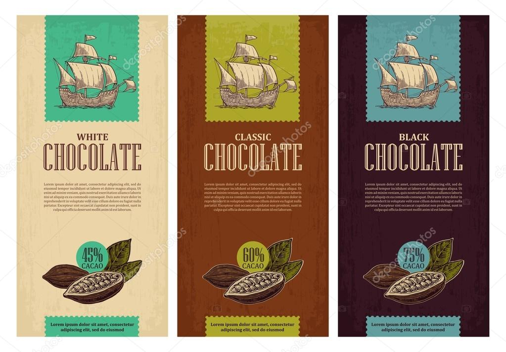 Set of label for chocolate with fruits  cocoa beans and sailing ship floating on the sea waves