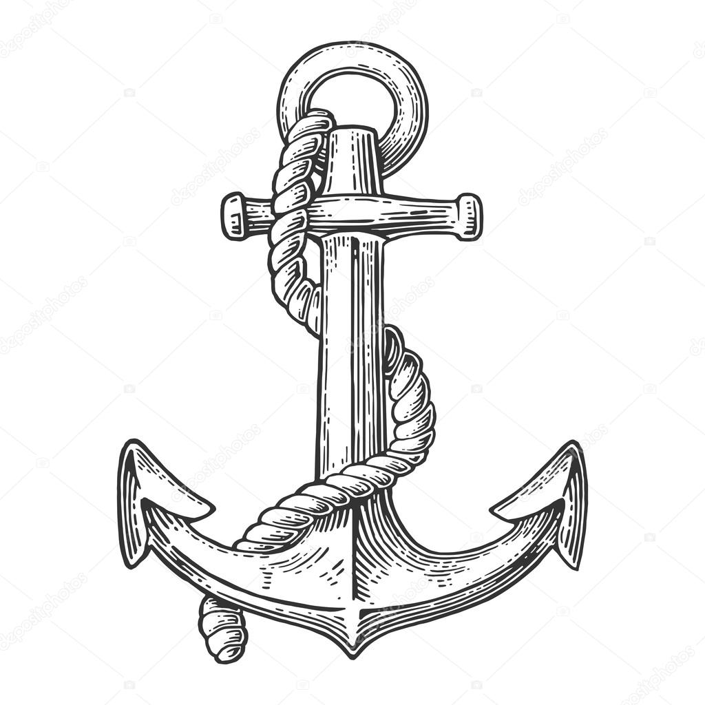 Anchor Isolated On White Background Vector Vintage Engraving Illustration For Tattoo Web And Label Hand Drawn In A Graphic Style