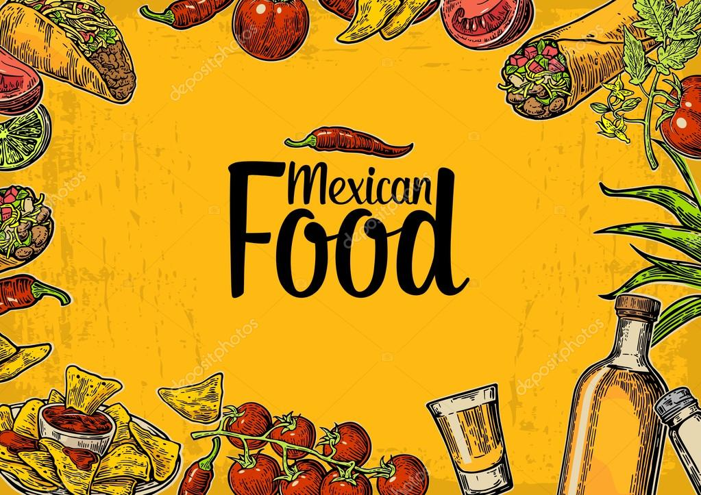 Mexican traditional food restaurant menu template with spicy dish ...