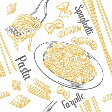 Seamless pattern set pasta with title. Farfalle, conchiglie, penne, fusilli and spaghetti on fork.