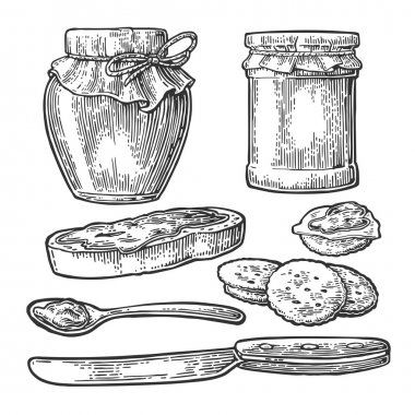 Jar, spoon, knife and slice of bread with jam.