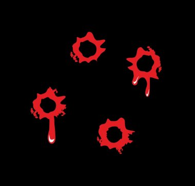 Bullet holes with blood splatters. Flat vector illustration on black background
