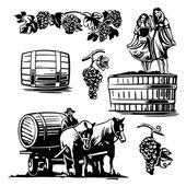 Frauen tanzen in einem Fass mit Trauben und Wagenlenker auf dem Wagen mit einem Pferd getrieben Wein
