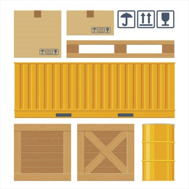 Brown closed carton delivery packaging box, pallet, carton, pallet, yellow container, wooden crates, metal barrel isolated on white background with fragile attention signs.