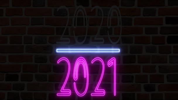 2020-2021 změnit Šťastný Nový rok 2021 neon znamení. Koncept šťastný nový rok usnesení.