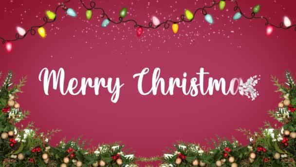 Roztomilá animace Veselé Vánoce nápisy s vánoční stromeček a sněhové vločky padající. Veselé Vánoce a vánoční dárky pozadí.