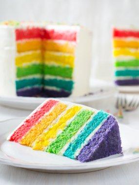 multicolored sweet rainbow cake