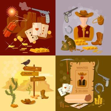 Wild west cowboy set western sheriff bandit vector