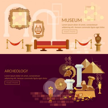 Museum horizontal banner ancient civilizations science
