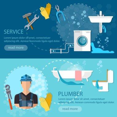 Professional plumber banner plumbing repair service