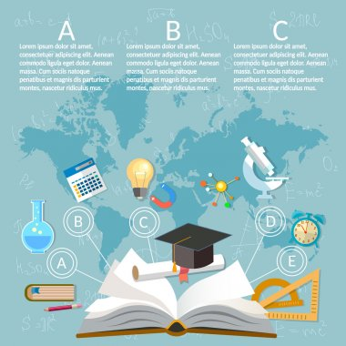 Education infographics open book of knowledge