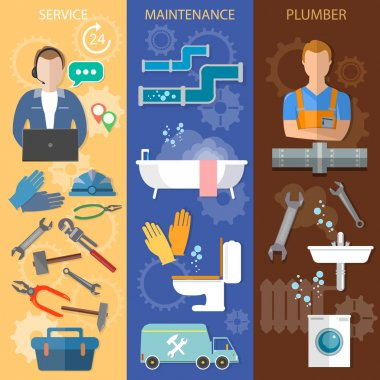 Professional plumber banners plumbing and renovation