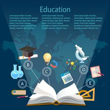 Education background infographics open book of knowledge