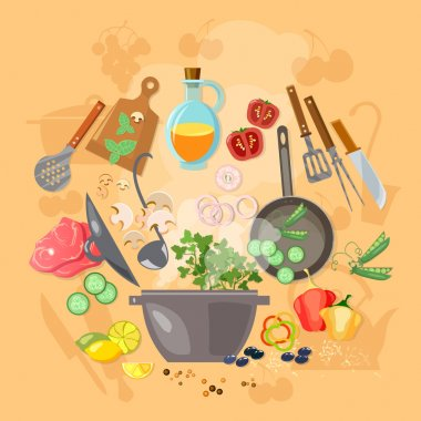 Creative cooking vector illustration