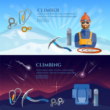 Hiking in the mountains climbers extreme sport