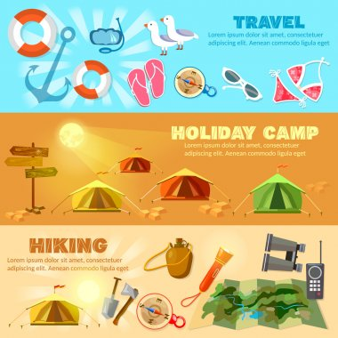 Tourism and travel banners hiking camping