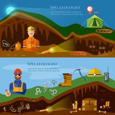 Speleology banners caves study underground mines