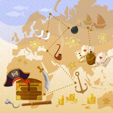 Pirate treasure map sea adventures treasure chest