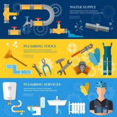 Plumbing repair service banner professional plumber