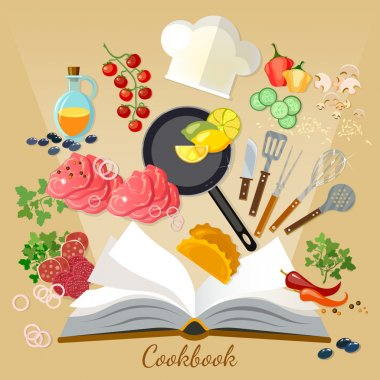 Cookbook flat style cooking food creative cooking