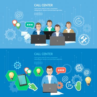 Technical support call center service flat banner