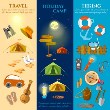 Tourism and travel banners summer holidays hiking camping