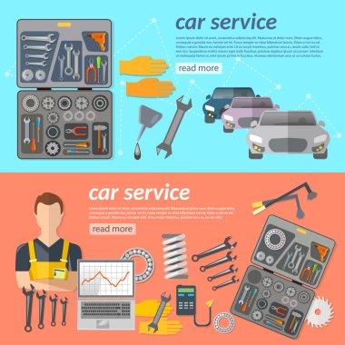 Car service car repair banner car mechanic tool box car parts ve