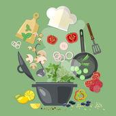 Fotografie Kreativní kolekce vaření kuchařka létající kuchyňské nástroje