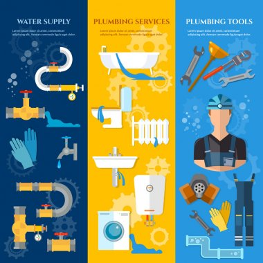 Professional plumber banners plumbing repair plumbing tools plum