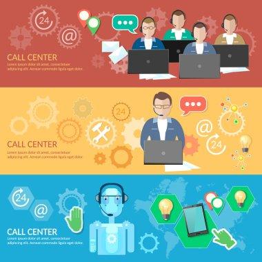 Call center banner 24 hours helpline operator