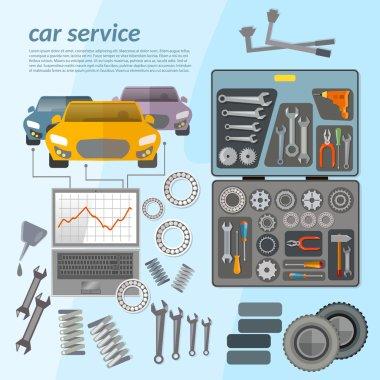 Car service mechanic tool box tuning car diagnostics