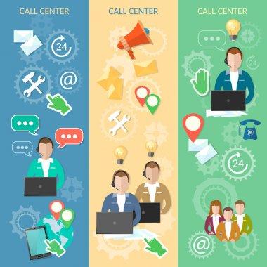 Call center banner technical support helpline operator