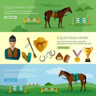 Equestrian sport banner professional jockey club