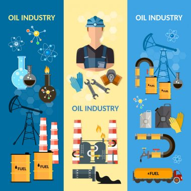 Oil industry banners extraction and processing of oil fuel