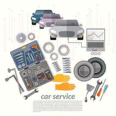 Car service mechanic tools vehicle diagnostics replacement tires