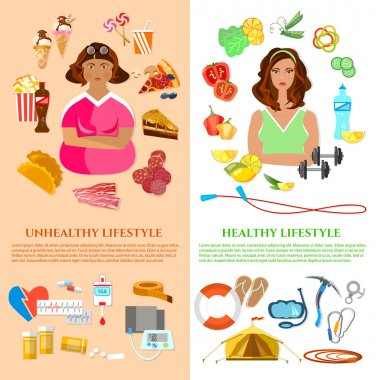Healthy lifestyle and unhealthy lifestyle banner obesity problem