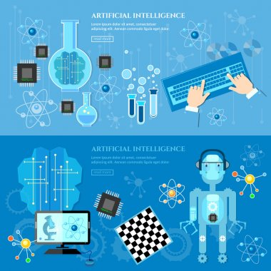 Artificial Intelligence banner creation of robots future