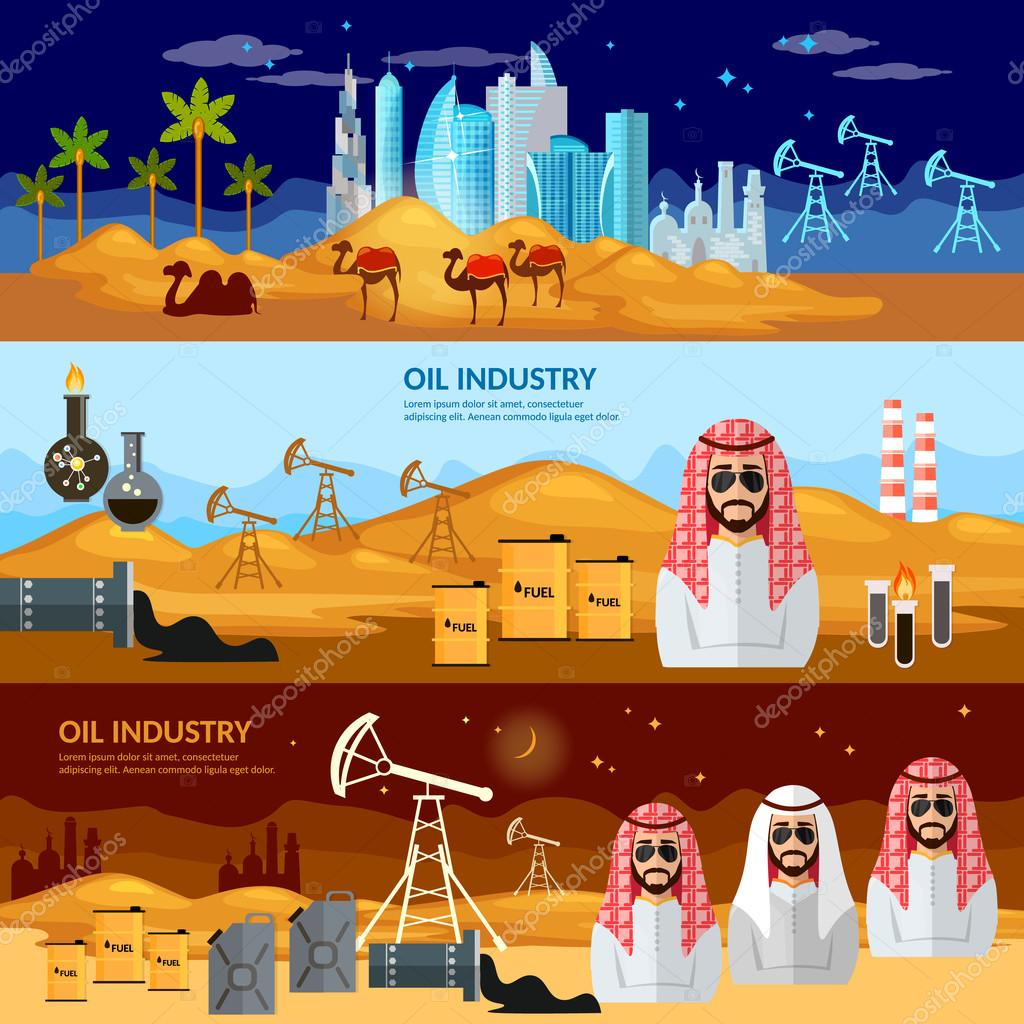 Oil production in the Arab countries banner, arab men