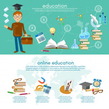 Education infographic elements student learning infographics