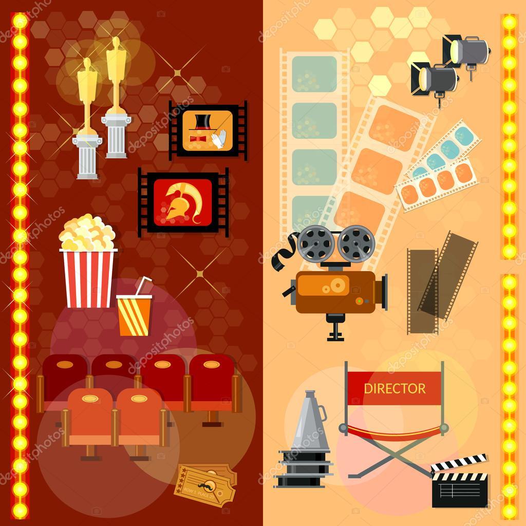 Banner Film Industrie Vorlage Kinokarten — Stockvektor © Matriyoshka ...
