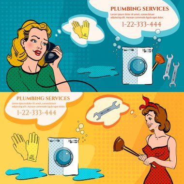 Plumber banners woman calling plumber broken washing machine