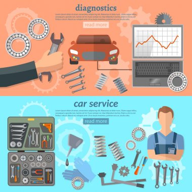 Car service banner mechanic auto service center tool box