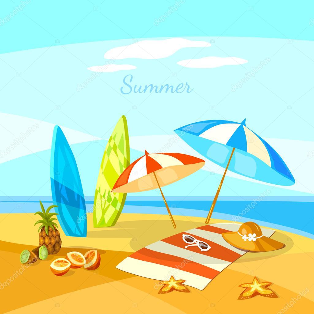 de surf été plage caricature serviette parapluie starfish u2014 image
