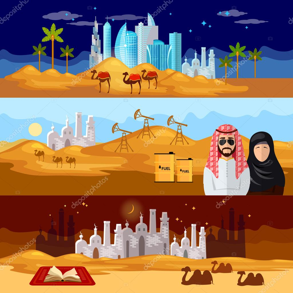 Tradition and culture in muslim countries banner dubai landscape